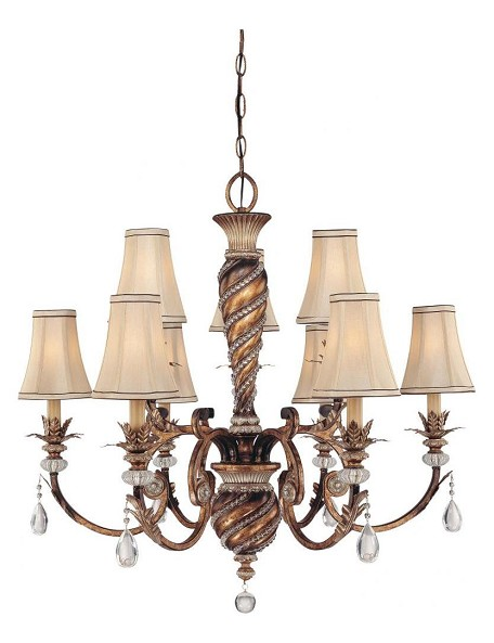 Aston Court Bronze 9 Light 2 Tier Crystal Chandelier From The Aston Court Collection
