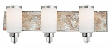 Chrome With Natural Shell 3 Light 25.5In. Width Bathroom Vanity Light