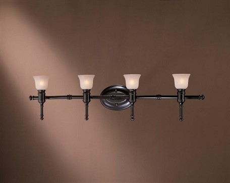 Restoration Bronze Without Gold Highlights 4 Light Bathroom Vanity Light From The Transitional Bath Art Collection
