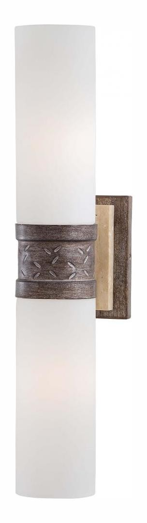Aged Patina Iron With Travertine Stone 2 Light Double Sconce Wall Sconce From The Compositions Collection