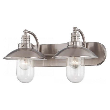 Brushed Nickel 2 Light Bathroom Vanity Light From The Downtown Edison Collection