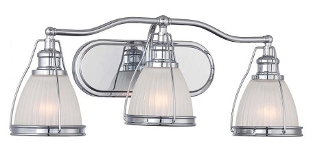 Chrome 3 Light 24In. Width Bathroom Vanity Light With Ribbed Opal Shade