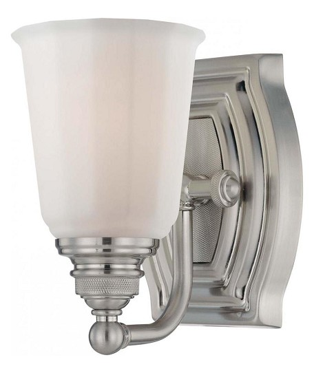 Brushed Nickel 1 Light Bathroom Sconce From The Clairemont Collection 6451-84