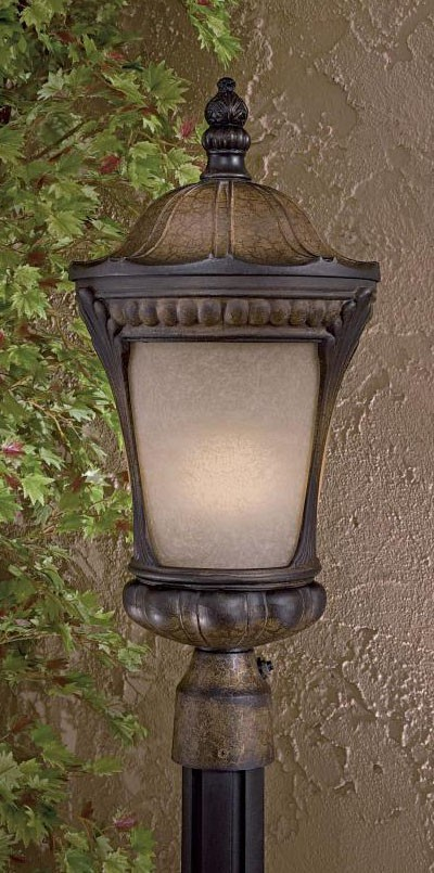 1 Light Post Mount With Prussian Gold Finish