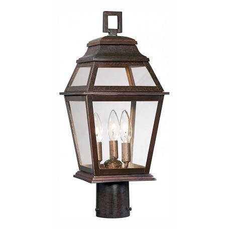3 Light Outdoor Post Light With Bronze Finish