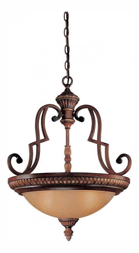 Belcaro Walnut 3 Light Indoor Bowl Shaped Pendant From The Belcaro Collection