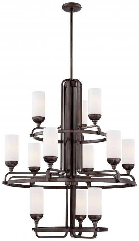 Industrial Bronze 12 Light 3 Tier Chandelier From The Industrial Collection