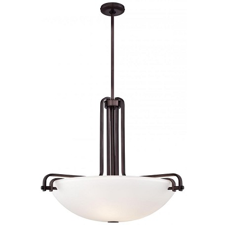 Industrial Bronze 4 Light Bowl Shaped Pendant From The Industrial Collection
