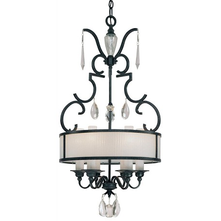 Castellina Aged Iron 6 Light Drum Pendant From The Castellina Collection