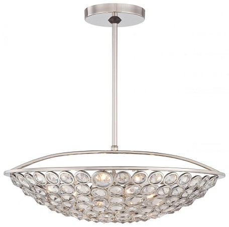 Polished Nickel 5 Light Bowl Shaped Pendant From The Magique Collection