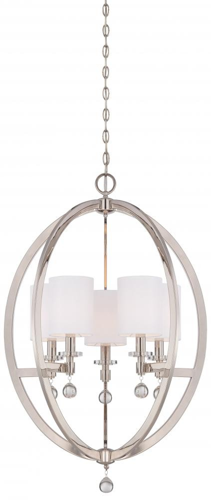 Polished Nickel 5 Light 1 Tier Chandelier From The Chadbourne Collection