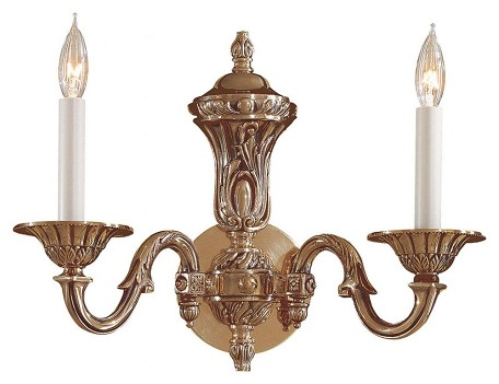 Antique Classic Brass 2 Light 15.5In. Width Candle-Style Double Wall Sconce From The Metropolitan Collection