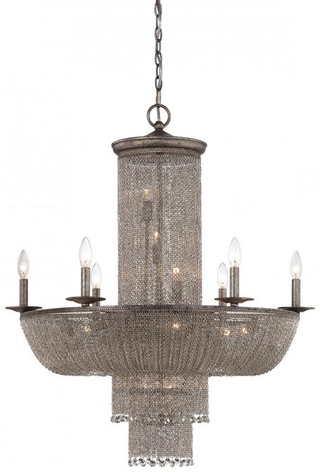 Antique Silver 16 Light 1 Tier Empire Chandelier From The Shimmering Falls Collection