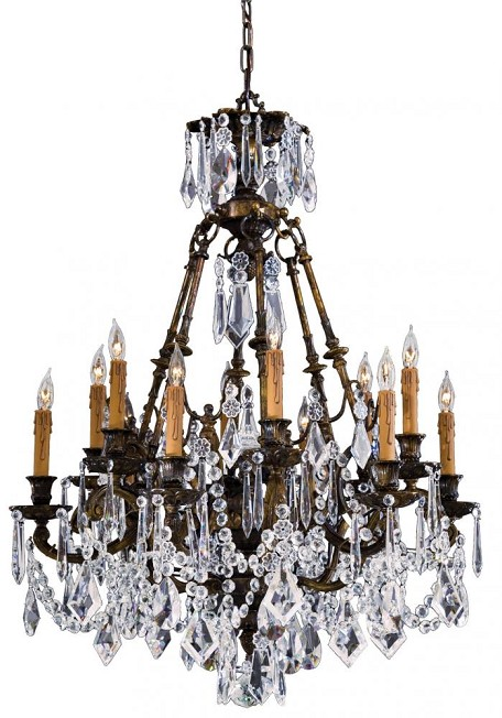 Oxide Brass 12 Light 35.5In. Width 1 Tier Candle Style Crystal Chandelier From The Vintage / Crystal Collection