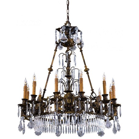 Oxide Brass 12 Light 34In. Width 1 Tier Candle Style Crystal Chandelier From The Vintage / Crystal Collection