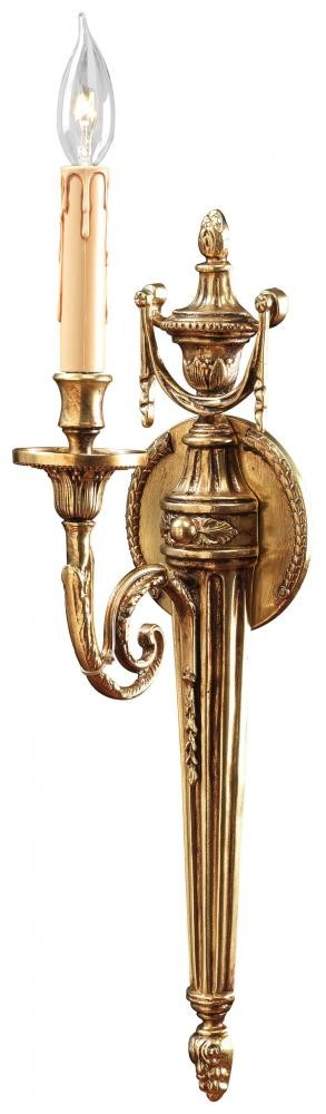 French Gold 1 Light Candle-Style Torchiere Wall Sconce