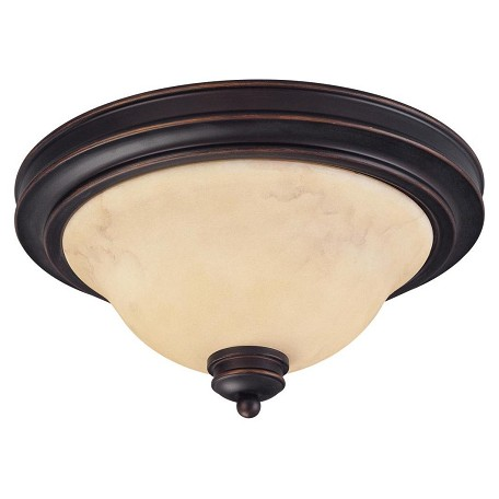 "Anastasia Collection 2-Light 7"" Copper Espresso Flush Mount with Honey Marble Glass 60-1406"