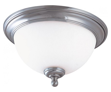 "Glenwood Collection 2-Light 16"" Brushed Nickel Flush Mount with Satin White Glass 60-1806"
