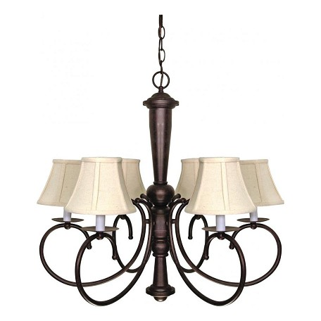 "Mericana Collection 6-Light 25"" Old Bronze Chandelier with Natural Linen Shades 60-101"