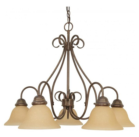 "Castillo Collection 5-Light 21"" Sonoma Bronze Chandelier with Champagne Washed Linen Glass 60-1024"