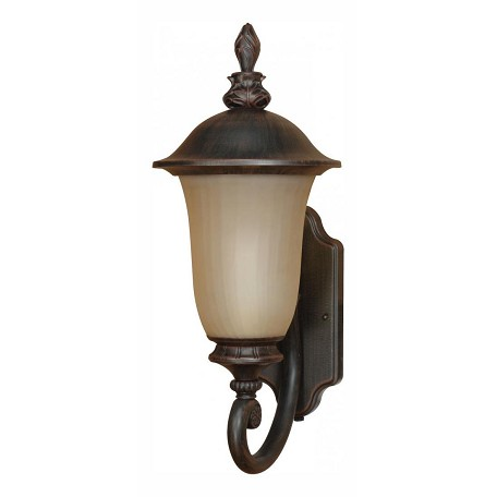 "Parisian Collection 1-Light 9"" Old Penny Bronze Outdoor Wall Light with Fluted Seed Glass 60-2506"