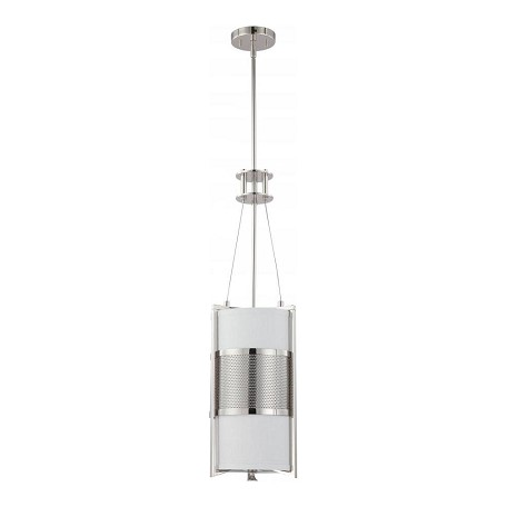"Diesel Collection 1-Light 31"" Polished Nickel Pendant with Slate Gray Fabric 60-4441"