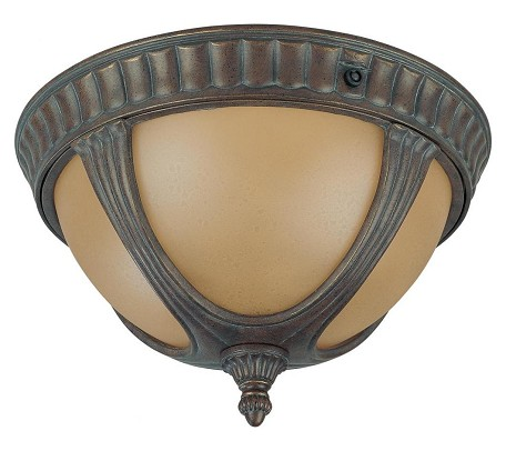 "Beaumont Collection 2-Light 8"" Fruitwood Outdoor Ceiling Light with Amber Water Glass 60-3907"