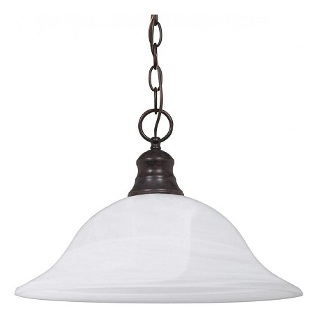 "Nuvo Collection 1-Light 11"" Old Bronze Pendant with Alabaster Glass 60-391"