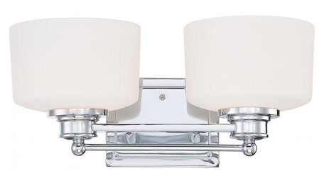 "Soho Collection 2-Light 7"" Polished Chrome Vanity with Satin White Glass 60-4582"