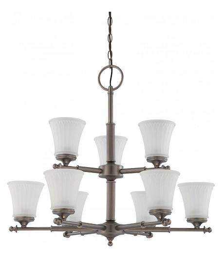 "Teller Collection 9-Light 27"" Aged Pewter Chandelier with Frosted Etched Glass 60-4019"