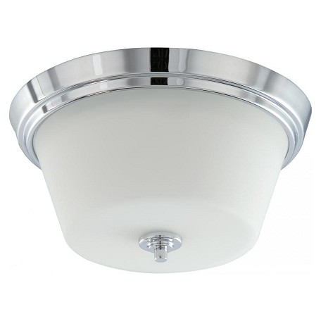 "Bento Collection 2-Light 13"" Polished Chrome Flush Mount with Satin White Glass 60-4088"