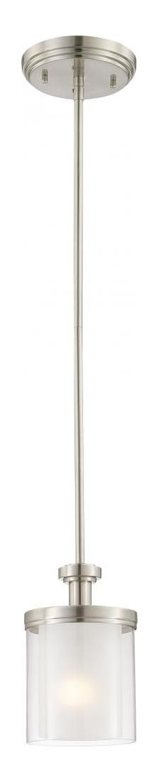 "Decker Collection 1-Light 34"" Brushed Nickel Mini Pendant with Clear Outer / Frosted Inner Glass 60-4648"