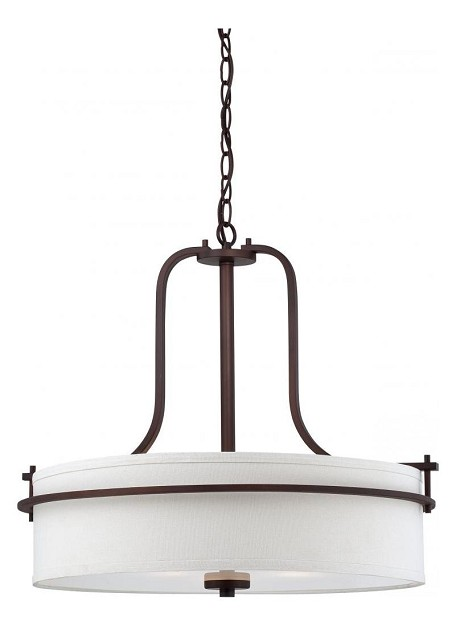 Nuvo Loren - 4 Light Pendant w/ White Linen Shade - 60/5008