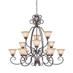 "Sheridan Collection 12-Light 49"" Forged Metal Chandelier with Painted Glass Shade 22012-FM"