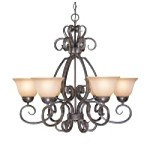 "Sheridan Collection 6-Light 29"" Forged Metal Chandelier with Painted Glass Shade 22026-FM"