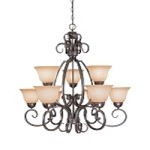 "Sheridan Collection 9-Light 34"" Forged Metal Chandelier with Painted Glass Shade 22029-FM"