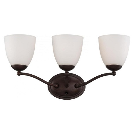 Nuvo Patton ES - 3 Light Vanity Fixture w/ Frosted Glass - (3) 13w GU24 Lamps Included - 60/5153