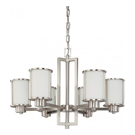"Odeon Collection 6-Light 19"" Brushed Nickel Chandelier with Satin White Glass 60-2853"