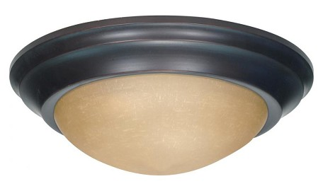 "Nuvo Collection 1-Light 4"" Mahogany Bronze Flush Mount with Champagne Washed Linen Glass 60-3135"