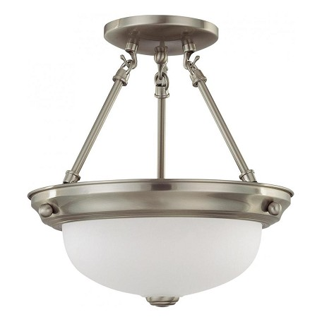"Nuvo Collection 2-Light 12"" Brushed Nickel Semi-Flush Mount with Frosted White Glass 60-3244"