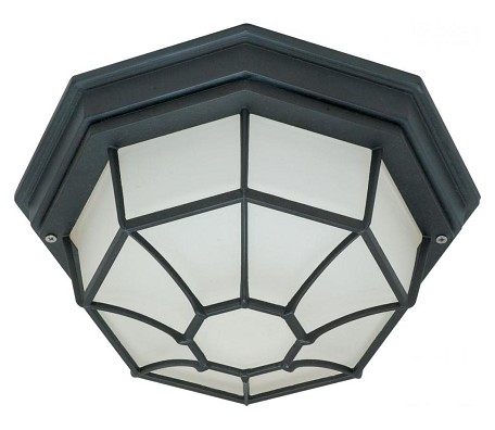"Nuvo Collection 1-Light 0"" Textured Black Outdoor Ceiling Light with Frosted Glass 60-536"