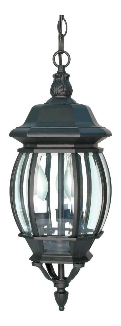 "Central Park Collection 3-Light 20"" Textured Black Outdoor Hanging Lantern with Clear Beveled Glass Panels 60-896"