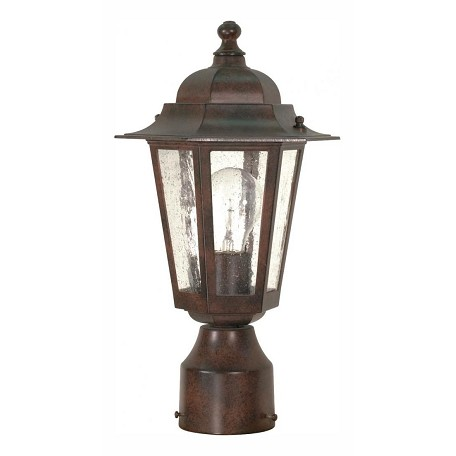 "Cornerstone Collection 1-Light 14"" Old Bronze Post Light with Clear Seed Glass 60-995"
