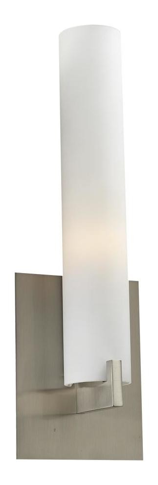 "Polipo Collection 1-Light 15"" Satin Nickel Wall Sconce with Matte Opal Glass 932 SN"