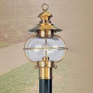 Harbor Collection 1-Light Hand Blown Clear Glass Solid Brass Flemish Brass Finished Outdoor Post Lantern 2224-22