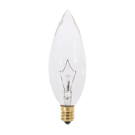 Satco Products Inc. 25 watt; B10; Clear; 1000 average rated hours; 200 lumens; Candelabra base; 220 volts - S3386