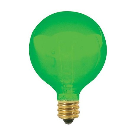 Satco Products Inc. 10 watt; G12 1/2; Transparent Green; 1500 average rated hours; Candelabra base; 120 volts - S3835