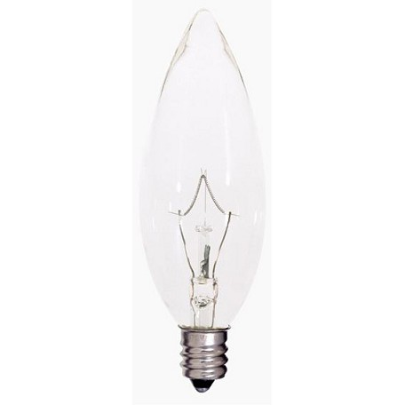 Satco Products Inc. 25 watt; BA9 1/2; Clear; 2500 average rated hours; 212 lumens; Candelabra base; 120 volts - S4995