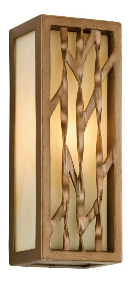 One Light Painted Bronze Leaf Outdoor Wall Light
