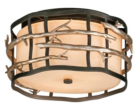 Two Light Graphite And Silver Drum Shade Flush Mount